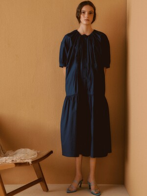[Cotton Resort] Oversized Shirring Long Dress
