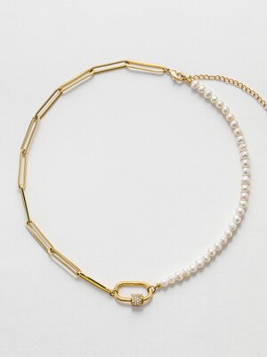 PEARL CHAIN LOCK NECKLACE_NZ0999