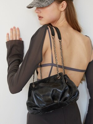 COW LEATHER BUD BAG_SMALL_BLACK