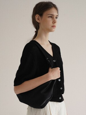 Linen short sleeve cardigan (Black)