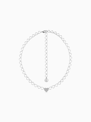 HEART LINE HEART CHAIN SILVER NECKLACE