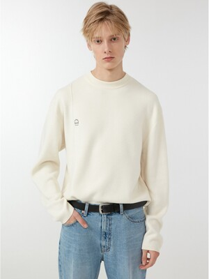 UNISEX ESSENTIAL LOGO CREASE KNIT CREAM_M_UDSW0F101CR