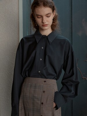 [Day-Wool] Oversized Hidden Panel Shirt_BLACK