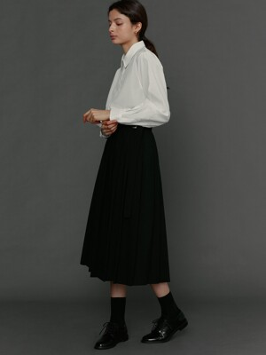 Pleats wrap skirt black