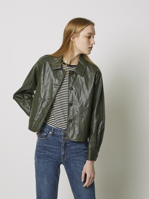 ECO-LEATHER CROP POCKET JACKET 3COLORS