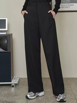 SI PT 7022 One Tuck Side Banding Slacks_Black