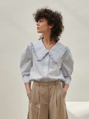 RUFFLE COLLOR PUFF BLOUSE_BLUE CHECK