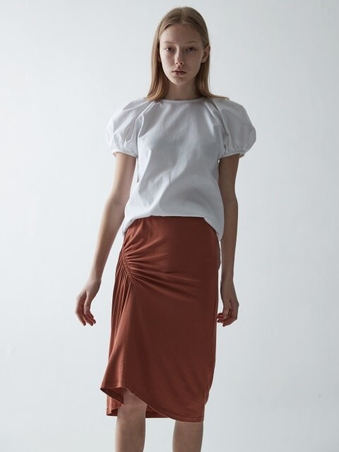 JERSEY SHIRRING SKIRT_CAMEL