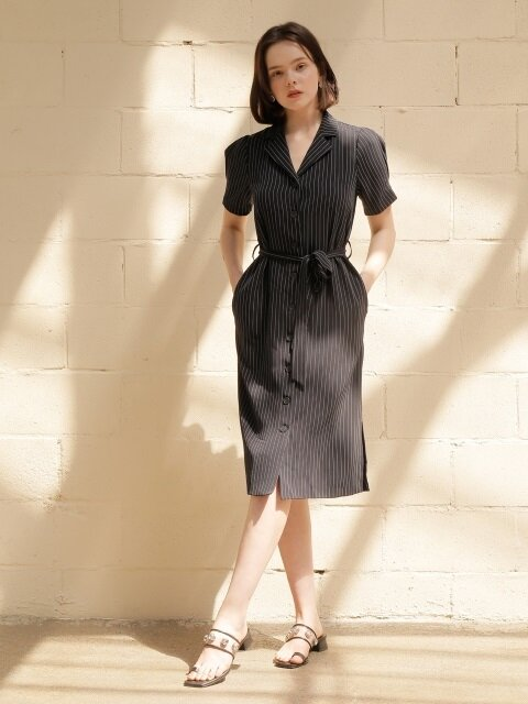 stripe robe dress_navy