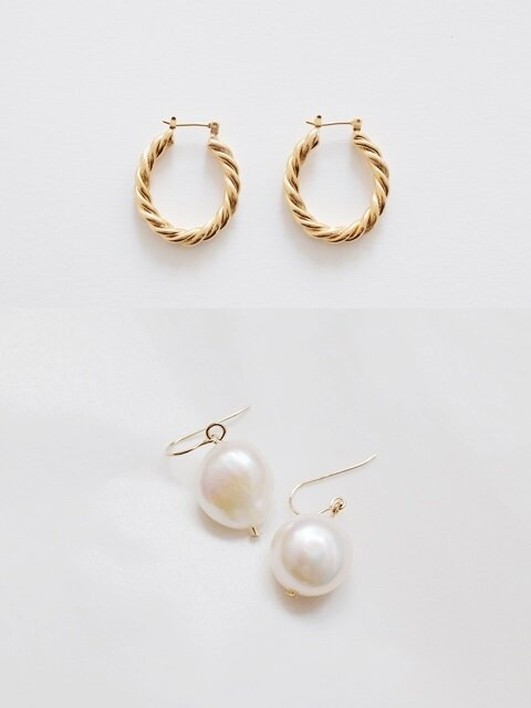 [SET]Bold Twist Earring+Natural Pearl Simple Earring