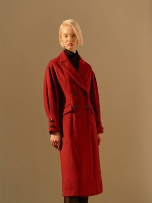 PUFF SLEEVES VOLUME LINE COAT _RED