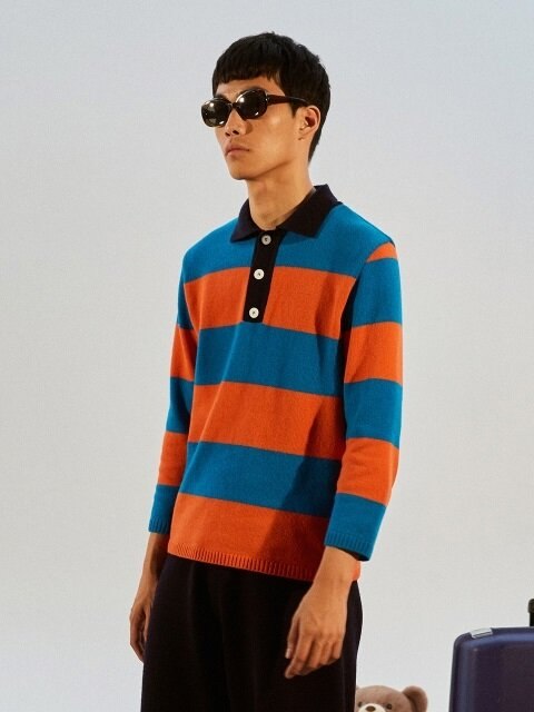 Stripe Knit PK Shirt_ orange