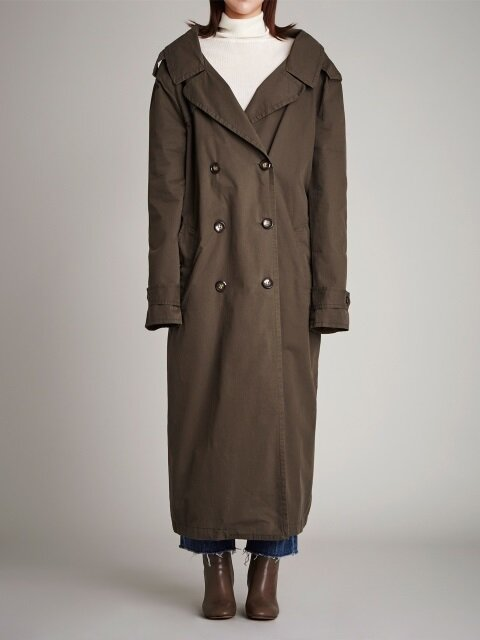 SV082 MAXI LONG SQUARE BELT TRENCH COAT-KHAKI