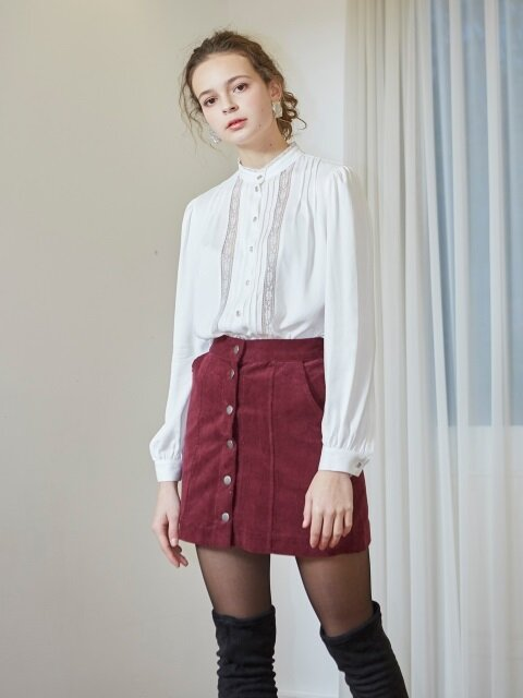 CORDUROY MINI SKIRT_BURGUNDY