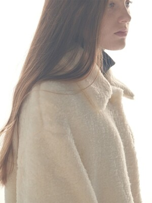 CREAM shearling effect maccoat(HJ048)