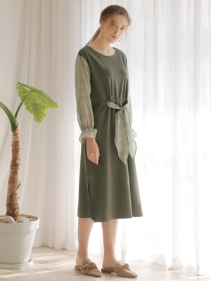 CHECK POINT SHIRRING ONE-PIECE_KHAKI