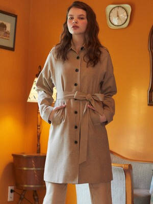 DE SINGLE TRENCH COAT(BROWN)