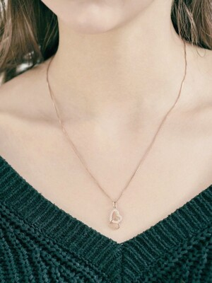 NC8843_Double `drop` Heart Stone Necklace