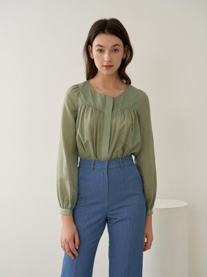 HEART NECK SILK BLOUSE GREEN