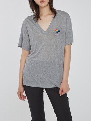 Grey Aimons Heart Symbol Embroidery V-Neck T-Shirts