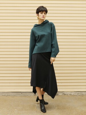 Pin stripe wool skirt_Navy