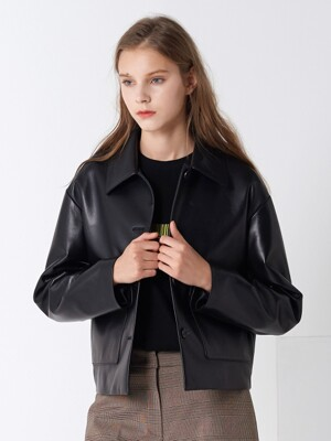 LAMB SKIN CROP POCKET JACKET BLACK