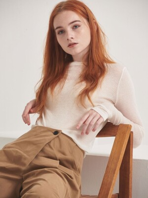 WOOL BLENDED ROUND NECK T-SHIRT_IVORY