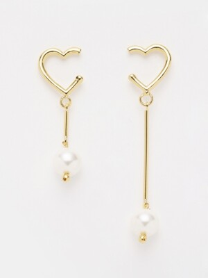 GOLD HEART & PEARL 'drop' EARRING_908E15G