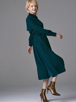 SIDE PLEATS TRENCH DRESS_BLUISH GREEN