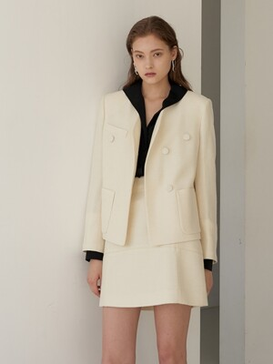 LAWRENCE Solid Tweed Jacket_Ivory