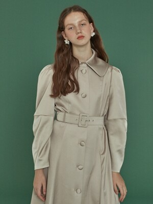 Elbow Shirring Coat Dress _ Beige