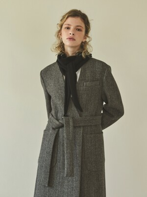 herringbone v-coat (brown)