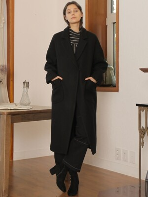 POCKET POINT LONG COAT_BLACK