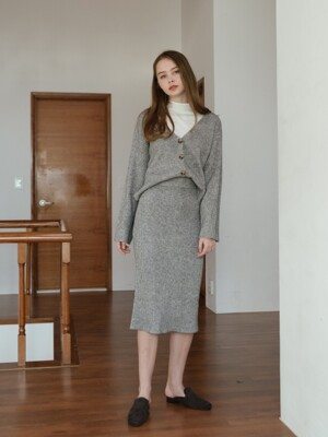Obernail Knit Cardigan & Skirt Set (4color)