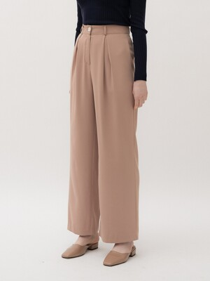 monts 1054 pleats wide pants (beige)