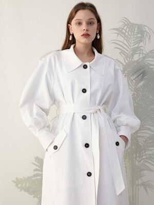 Volume sleeve white trench coat SW0SR002-01
