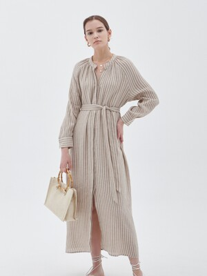 STRIPE STRAP MAXIS DRESS_BEIGE