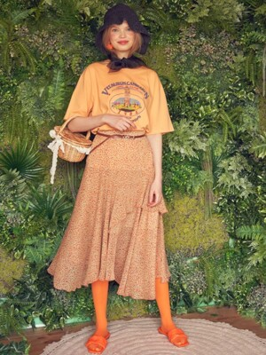 Layered Floral long Skirt (Orange)