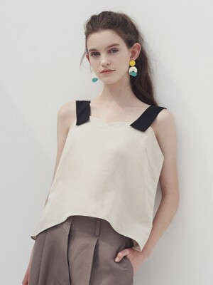 Shoulder strap bustier_Soft beige
