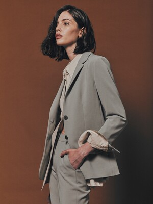 [Drama Signature] Two-button Tailored Blazer_KHAKI GREY