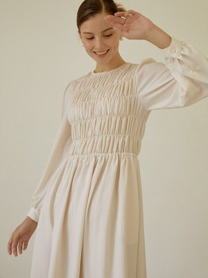 Romantic Shirring Long Dress(Ivory)