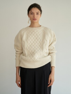 TTW CASHMERE ROUND NECK CABLE KNIT 4COLOR