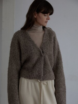 DUET BRITISH WOOL CARDIGAN (MELANGE BROWN)