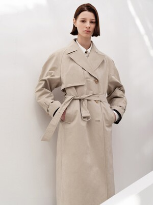 COTTON BLENDED TRENCH CT (BEIGE)