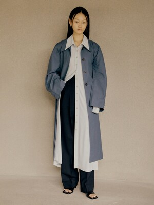 21SS CURVE SLEEVE COTTON TRENCH COAT - BLUE GREEN