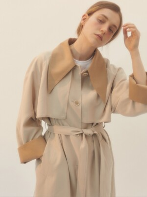 [BREEZE] Color Block Spring Mac Coat_BEIGE (CTD1)