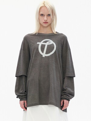 SYMBOL PRINT LAYERED T-SHIRT, DARK GRAY