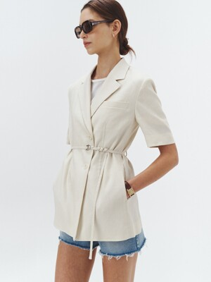 HALF-SLEEVES BELTED SUMMER-WOOL JACKET CHAMPAGNE_UDJA1E211I1