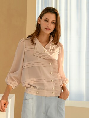 Pleats Side Button Blouse