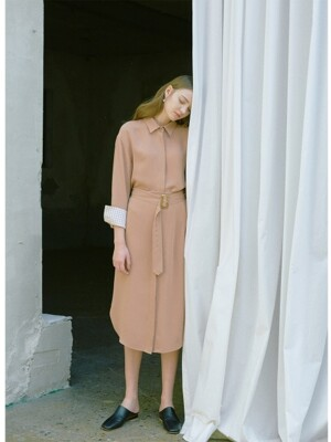 Seoul long sleeve shirt dress (Nude brown)